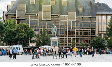 STRASBOURG FRANCE - JUL 12 2017: Place Kleber with protesters in city as Melenchon called for day of protest against Macron government spending cuts and pro-business tax and labor reforms