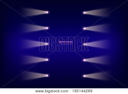 Vector illustration, abstract purple banner with neon spotlights, flashlights, light beams, rays of light. Design element for advertising poster
