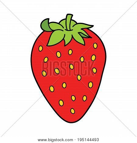 Vector illustration of cute cartoon strawberry for children and scrap book