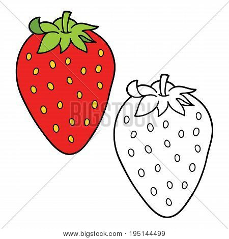 Vector illustration coloring page of cartoon strawberry for children, coloring and scrap book