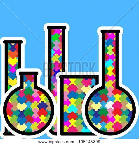 Laboratory glassware or beaker. Vector set of glass flasks, chemistry bottles and test tubes