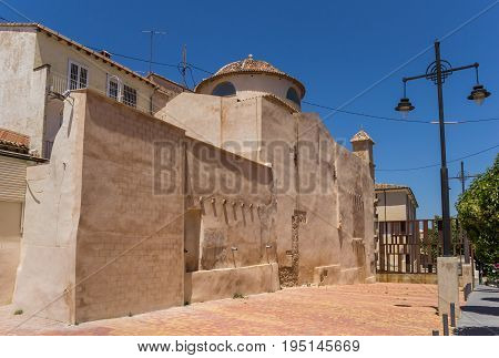 Terracotta church in the historic center of Alcoy Spain poster