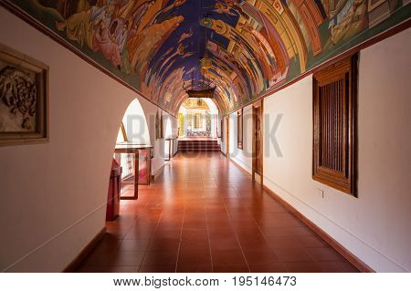 CYPRUS PAPHOS- SEPTEMBER 21 2016: Covered corridor in the famous Kykkos monastery.