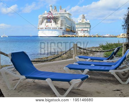 Cozumel Mexico - January 19 2017: cruise ships Royal Caribbeans Hamony of the Seas and Rhapsody of the Seas docked at the port of Cozumel Mexico