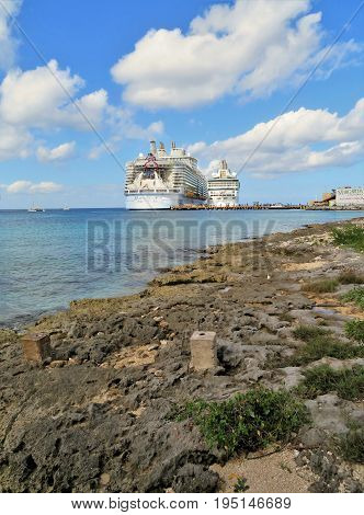 Cozumel Mexico - January 19 2017: cruise ships Hamony of the Seas and Rhapsody of the Seas docked at the port of Cozumel Mexico