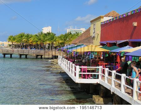 Cozumel Mexico January 19 2017: Restaurant by the cruise port terminal