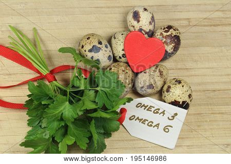 Quail eggs  and parsley - omega 3 and omega 6/ Foods containing omega 3  and omega 6 acids.