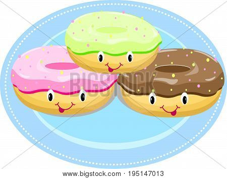 Cake donut on a plate vector fresh, icing, menu