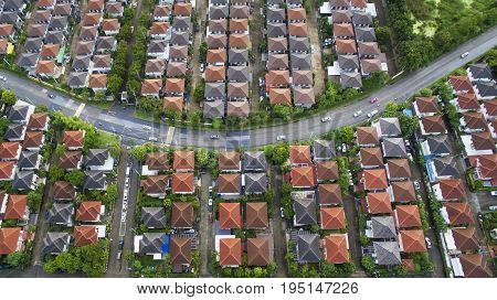 aerial view of home village and land management in bangkok thailand
