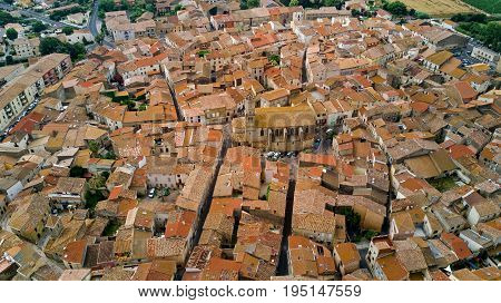 Aerial top view of residential area roofs from above, medieval town background