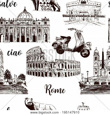 Rome sightseeing seamless pattern set: Coliseum St. Peter Cathedral Castel Sant'Angelo wolf romulus Piazza di Spagna scooter. vector sketch. For prints textile advertising Cityscape gifts