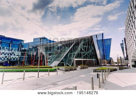 DUBLIN IRELAND - 12th July 2017: detail of the regenerated Docklands area of Dublin featuring the Bord Gais Theatre