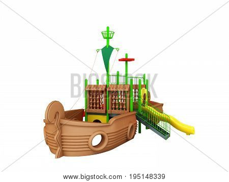 Playground For Children Ship Brown Yellow Green 3D Render On White Background No Shadow
