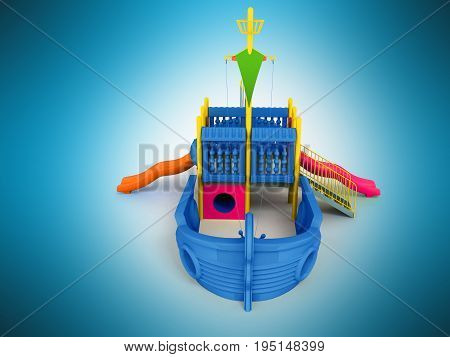 Playground For Children Ship Blue Front 3D Rendering On A Blue Background