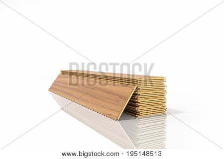 Set Of Wooden Laminated Construction Planks Isolated On White Background