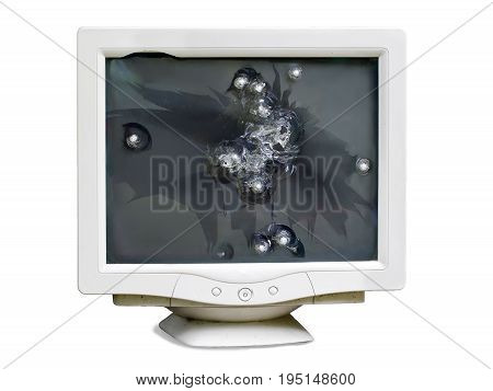 view of broken monitor with bullet holes on screen isolated on white background