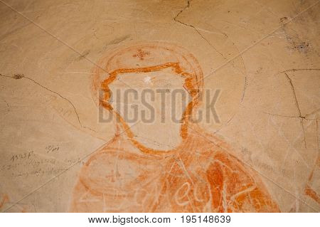 Sagarejo Municipality, Kakheti Region, Georgia. Ancient Surviving Frescoes Of Holy Virgin Mary, Mary, Mother Of Jesus In Walls Of Caves Of David Gareja Monastery Complex. It Was Founded In 6th Century