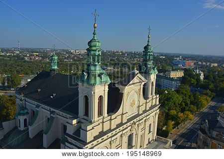 Saint John the Baptist Cathedral (Lublin) top view. Blue sky in background.