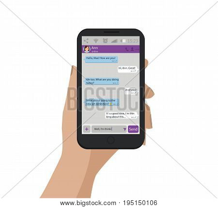Hand Holding Mobile Phone. Vector Illustration. Chat Concept. Messenger Window.