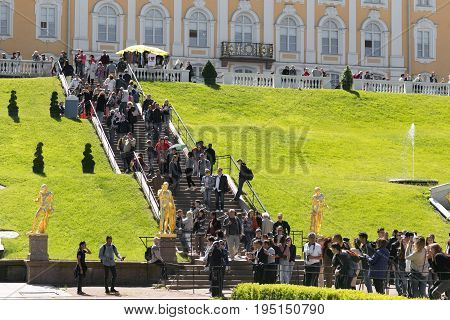 St. Petersburg Russia - June 28 2017: many tourists from different countries in Peterhof in St. Petersburg Petersburg