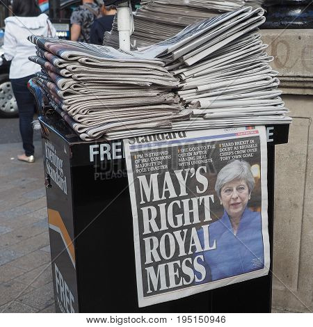 Newspapers Showing Theresa May In London