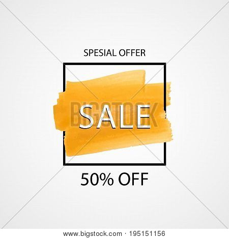 Orange Hand Drawn Brush Stroke. Sale Banner. Vector Illustration. Brush Paint With Border. Sale 50 O