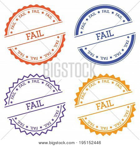 Fail Badge Isolated On White Background. Flat Style Round Label With Text. Circular Emblem Vector Il