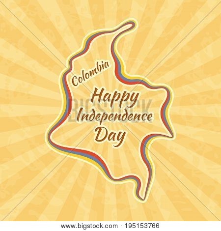 Happy Independence Day in Colombia. Greeting card for 20 July. Retro with vintage background.