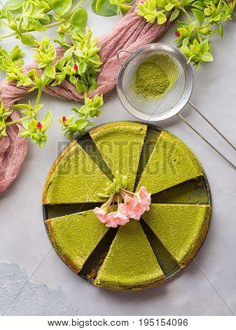 Matcha Cheese Cake And Flowers