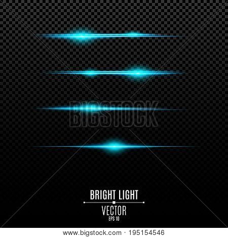 Abstract blue lights on a transparent background. Bright flashes and glare of blue. The effect of the camera. Bright rays of light. Glowing lines. Vector illustration