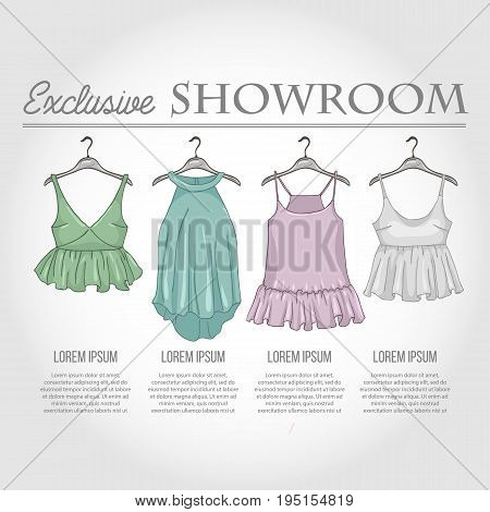 Color showroom set of woman casual clothes, shirts with a frills on hangers for clothes