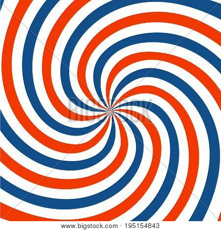 Red blue and white spiral background. Twirl design. vector illustration.