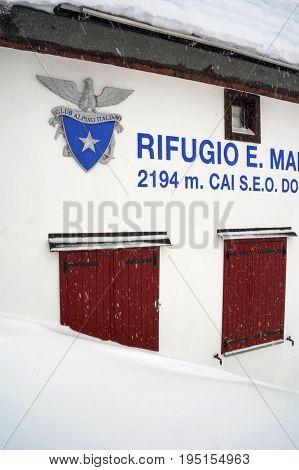 margaroli hut in vannino valley during winter