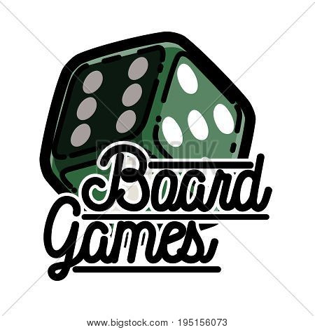 Color vintage board games emblem. Gamer icons. Board games players signs. Casino playing card. Design elements. Vector
