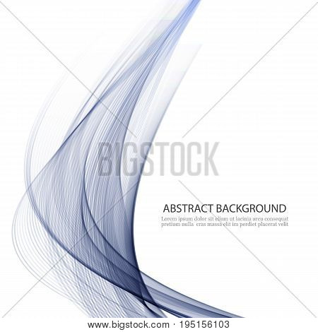 Abstract wavy background Transparent blue lines in the waveform.Abstract background wave of smoke.