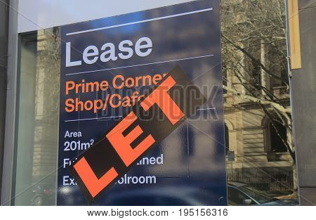 MELBOURNE AUSTRALIA - JUNE 30, 2017: Real estate for lease sign for commercial property.