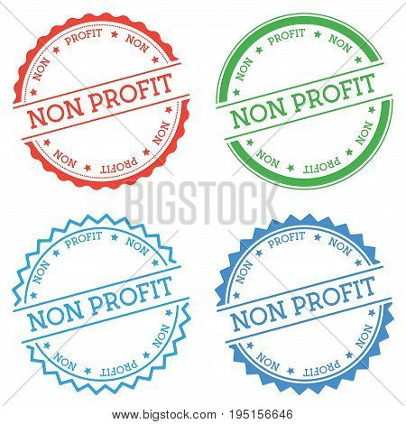 Non Profit Badge Isolated On White Background. Flat Style Round Label With Text. Circular Emblem Vec