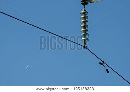 Bell-shaped insulator chain of electric power transmission line, Central Balkan mountain, Stara Planina, Bulgaria