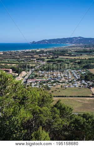 High view of Estartit bay on the Costa Brava of Catalonia