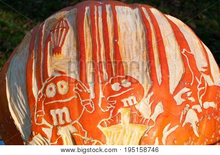 CHADDS FORD, PA - OCTOBER 26: View of M and M Candy Pumpkin at The Great Pumpkin Carve carving contest on October 26, 2013