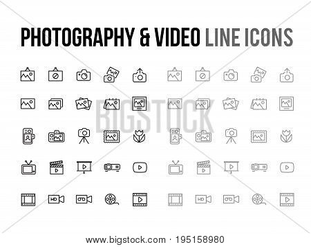 Photography & Video vector line icon for app mobile website responsive