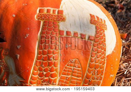 CHADDS FORD, PA - OCTOBER 26: View of Castle Pumpkin at The Great Pumpkin Carve carving contest on October 26, 2013
