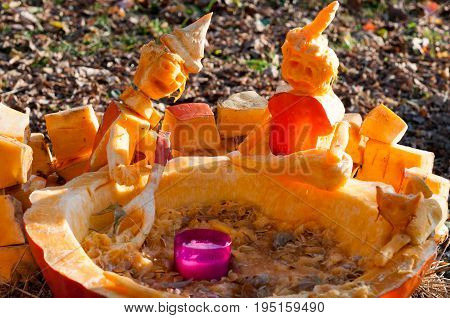 CHADDS FORD, PA - OCTOBER 26: View of Witch Caldron Pumpkin at The Great Pumpkin Carve carving contest on October 26, 2013
