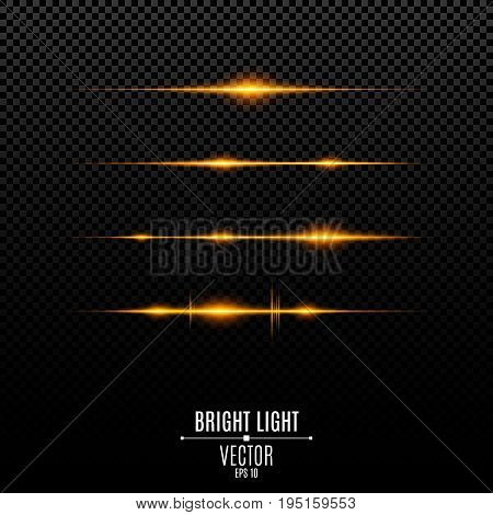 Abstract orange lights on a transparent background. Bright flashes and glare of gold color. The effect of the camera. Bright rays of light. Light vibration from sound. Glowing lines. Vector illustration