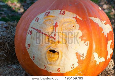 CHADDS FORD, PA - OCTOBER 26: View of Clock Pumpkin at The Great Pumpkin Carve carving contest on October 26, 2013