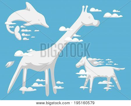 Animal clouds silhouette pattern vector illustration. Abstract sky art cartoon environment natural ornament adorable bright fluffy mammal wilding beast.