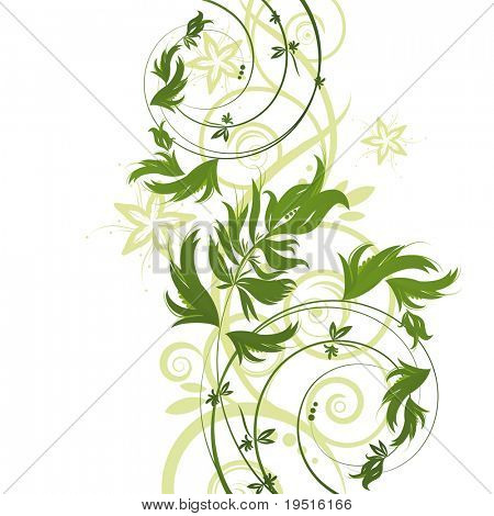 Green floral pattern on white background