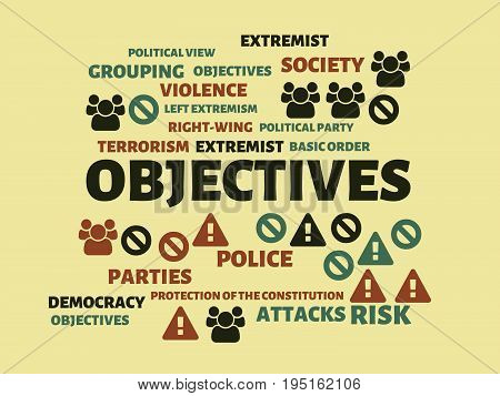 Objectives - Image With Words Associated With The Topic Extremism, Word, Image, Illustration