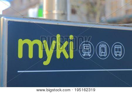 MELBOURNE AUSTRALIA - JUNE 30, 2017: Myki public transportation. Myki is a smart card ticketing system used in Victoria Australia