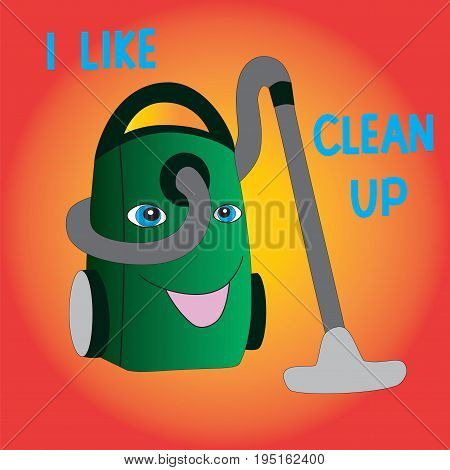 A symbol of purity. Joyful vacuum cleaner enjoys cleaning isolated gradient background.